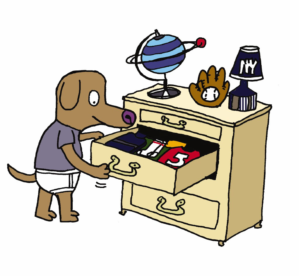 Taylor Lee_Cartoons and Characters_Dog looks for what to wear