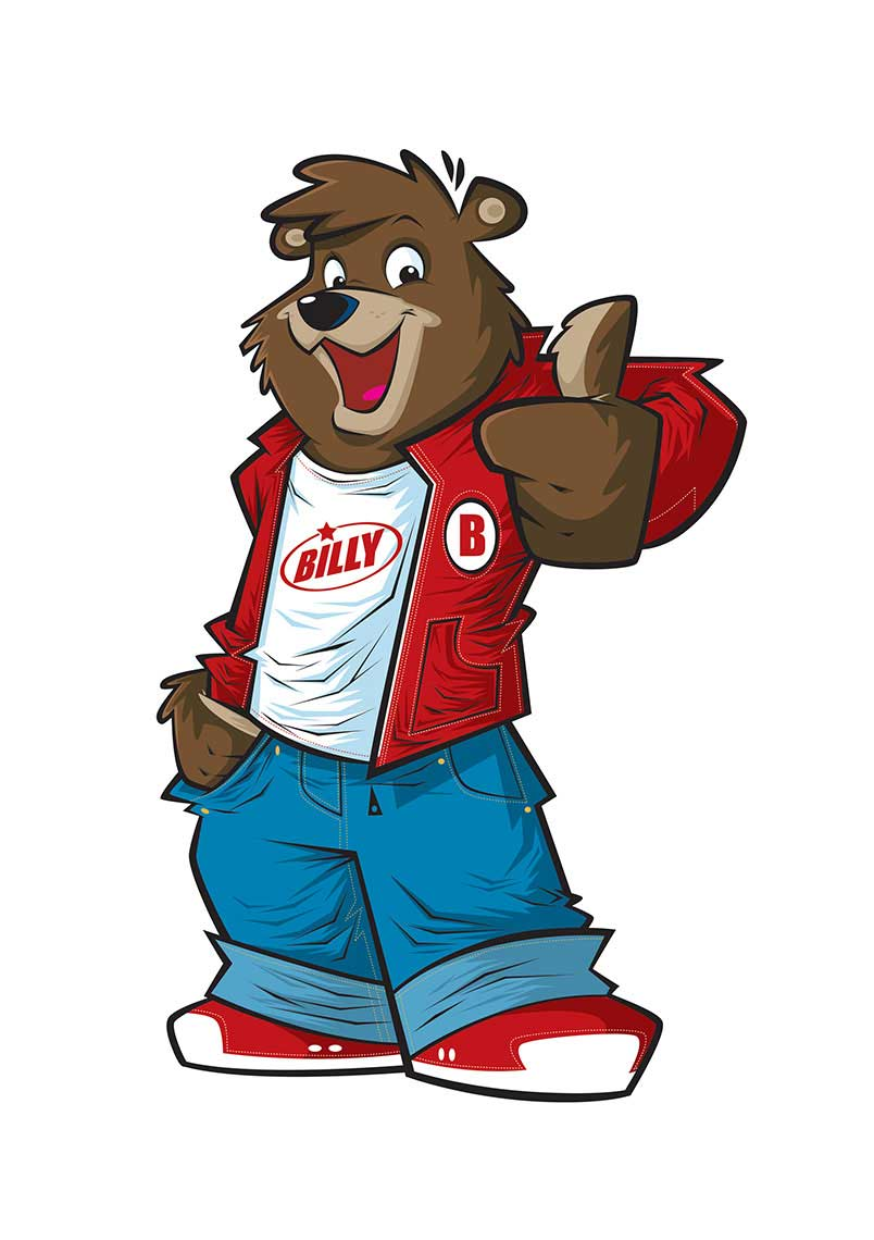 Vector-Character-Design-Animals_Billy-Bear-in-Jeans-and-Red-Jacket-with-Thumbs-up