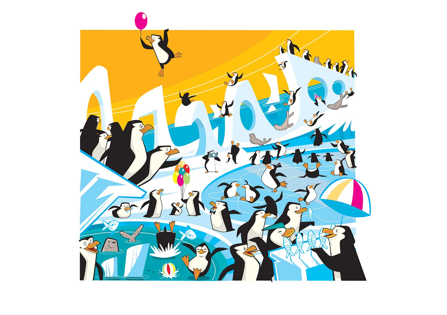 Vector-Character-Design-Animals_Penguins-plalying-and-frolicking-on-the-ice-and-water