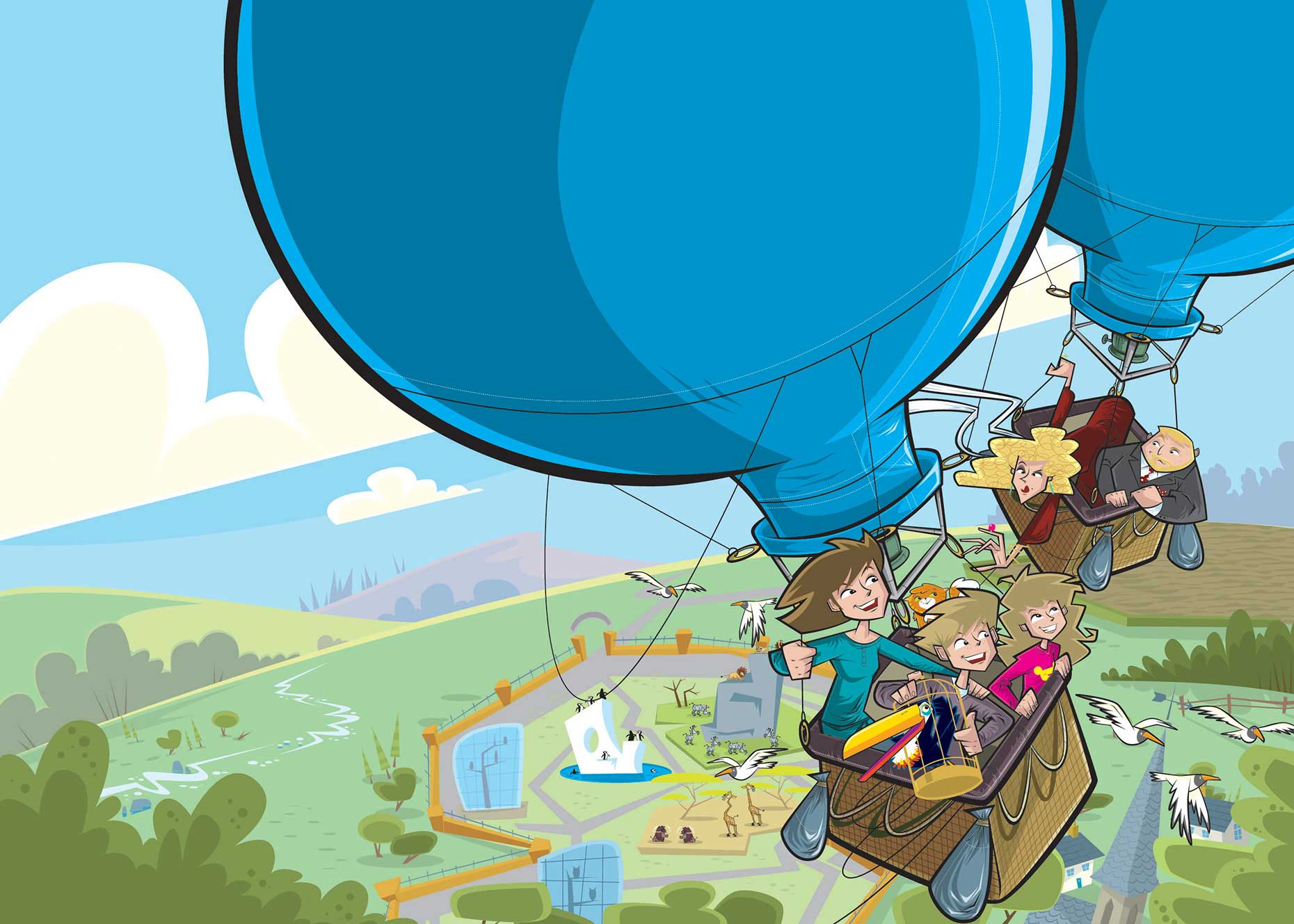 Vector-Kids-in-Balloon-floating-over-landscape