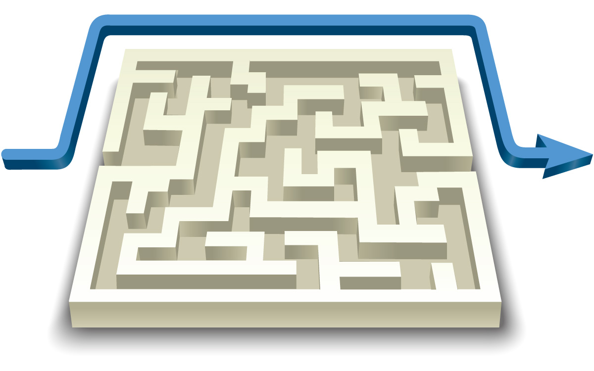 Vector_Business_Maze with Directional Arrow