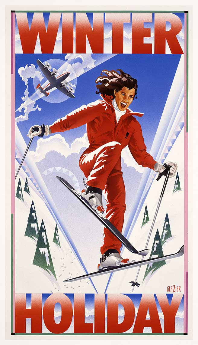 Woman Skiing in Red Skisuit_Vintage_Travel-Winter Holiday