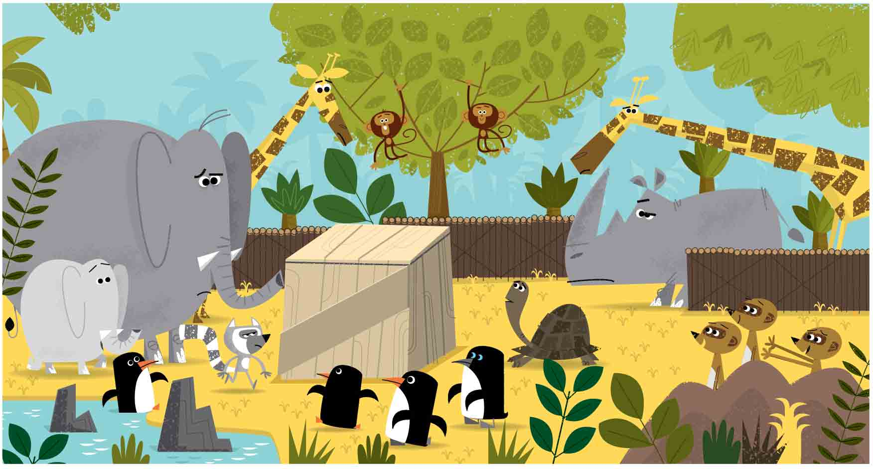 Zoo scene with elephant-penguins-turtles-giraffes-monkeys-flat-1950s-1960s-retro cartoon style