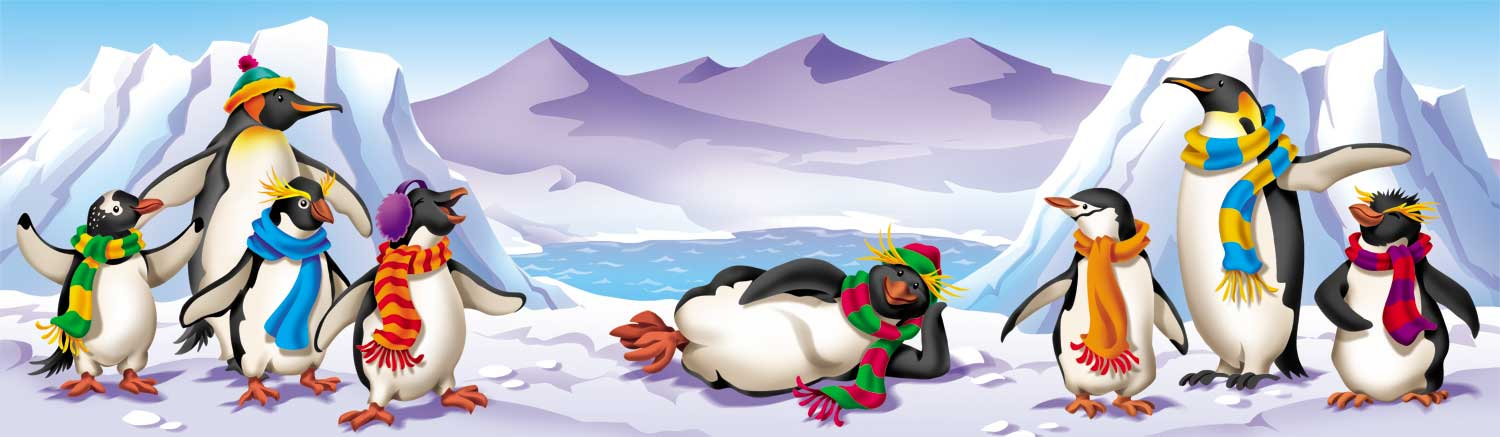 animated-penguins-lounging-and-standing-wearing-scarfs