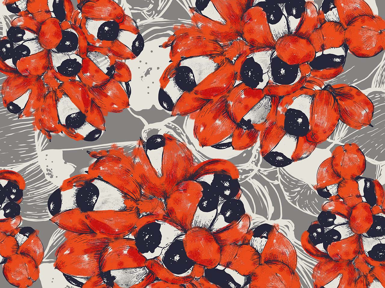 bright red floral pattern