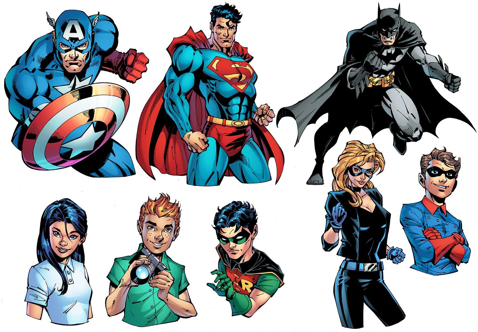 captain-america,-superman,-batman,-robin,-batgirl,-et.-al