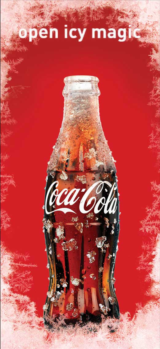 cgi-illustration-icy coke bottle rendering inside iced window