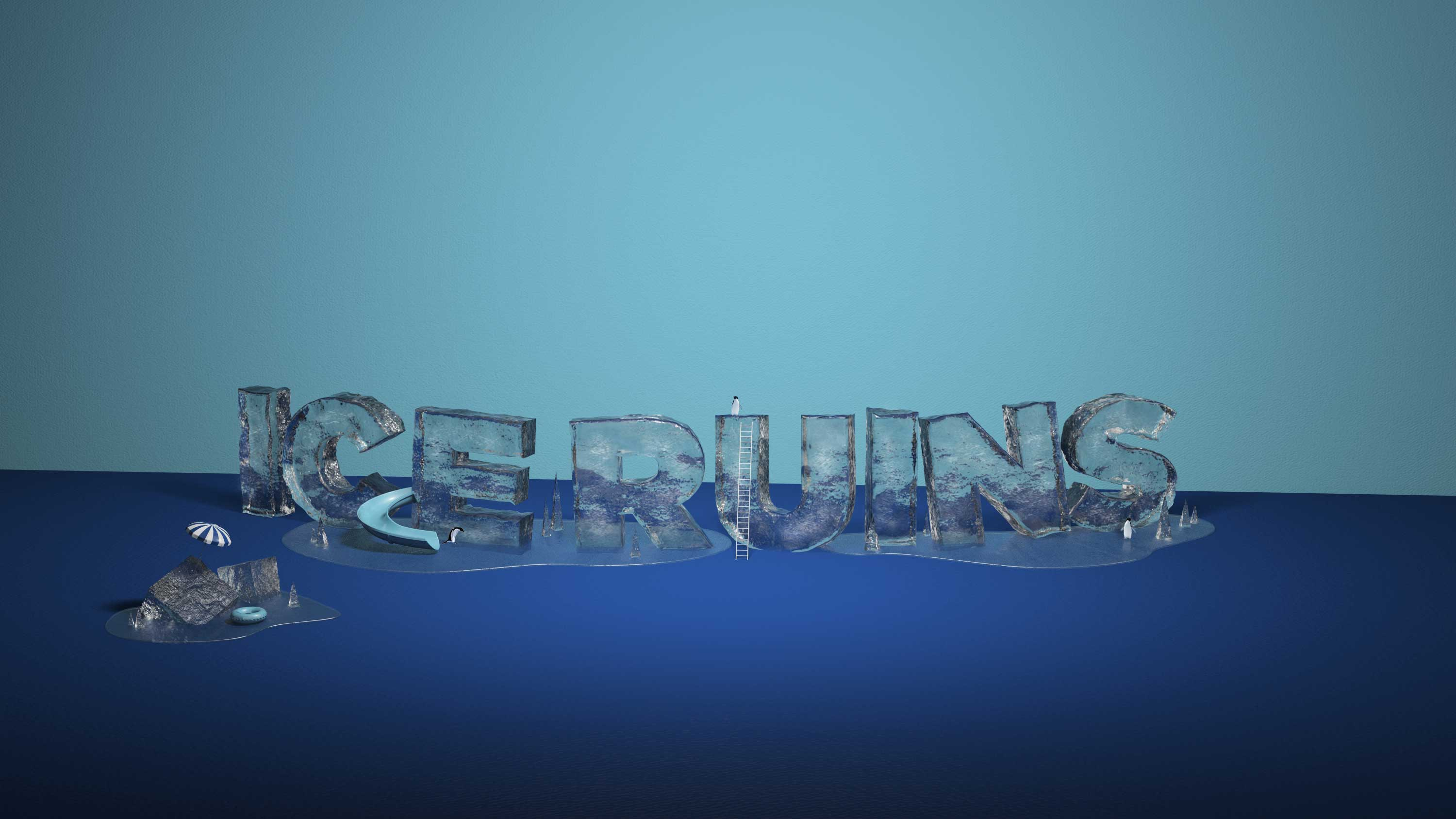 Cgi Logos Type Design 3d Graphic Design Of The Word Ice Ruins Made