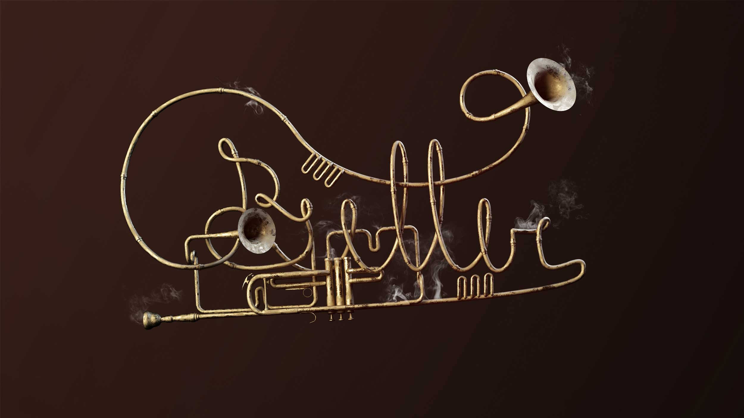 cgi-logos-type-design-3D-modeling-of-abstract-golden-trumpet-Nico Castro