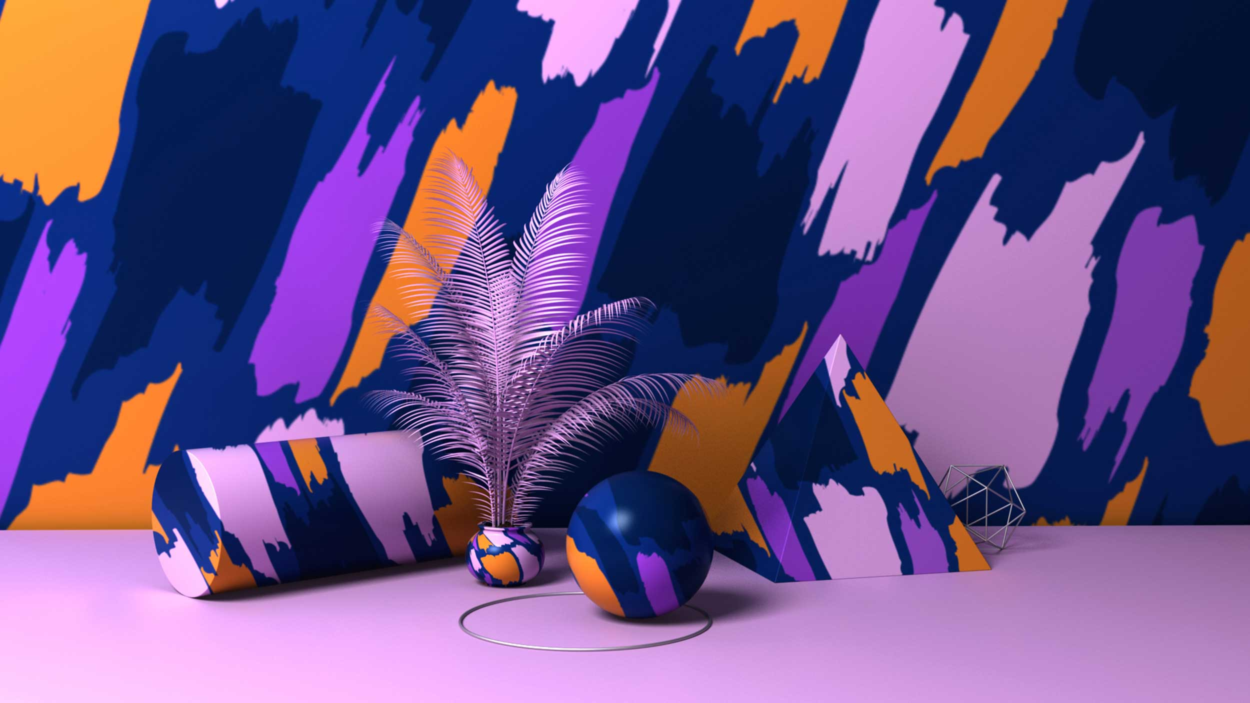 cgi-logos-type-design-Blue,-pink,-purple-and-orange-color-designed-geometric-shapes-with-palm-leaves-Nico Castro