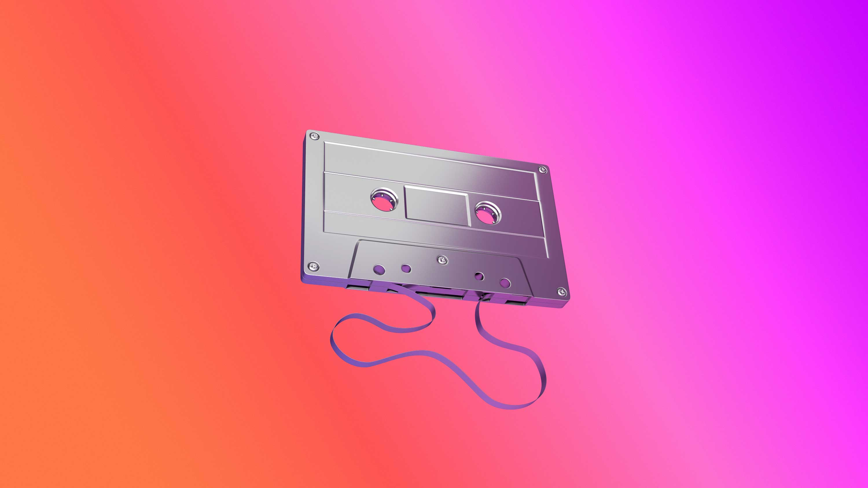 cgi-product-3D-grayscaled-cassette-with-loose-tape-on-translucent-orange,-red-and-purple-coloring-Nico Castro