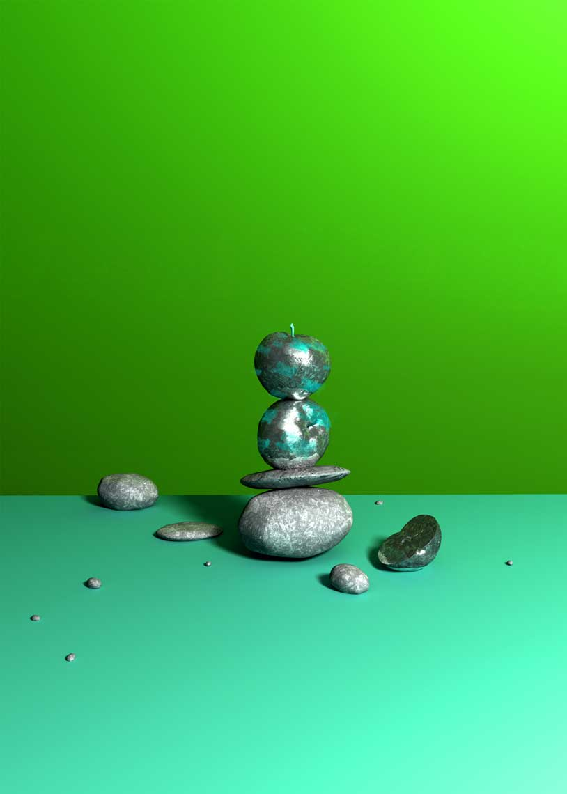 cgi-product-3D-modeling-of-Silver-apples-balanced-on-silver-rocks-with-a-green-wall-Nico Castro