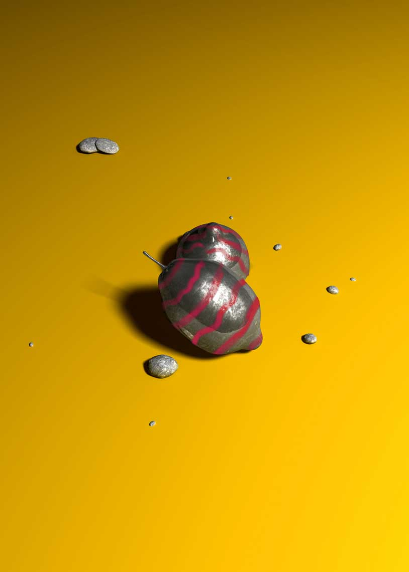cgi-product-3D-modeling-of-red-striped-grayscaled-lemons-on-a-yellow-floor-Nico Castro