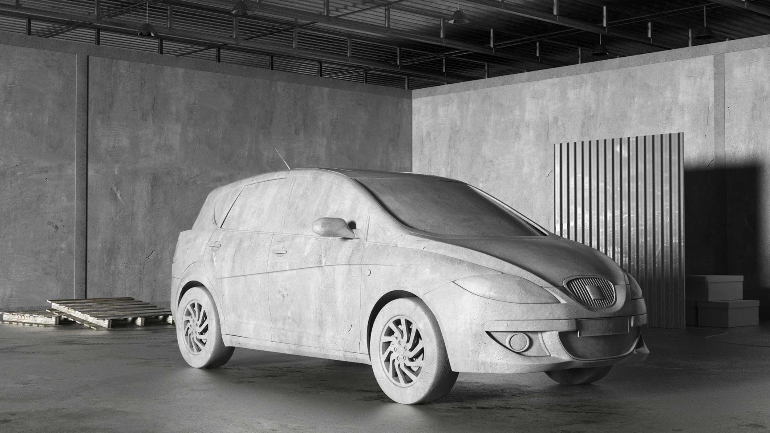 cgi-product-Grayscale-car-in-an-all-gray-room-Nico Castro
