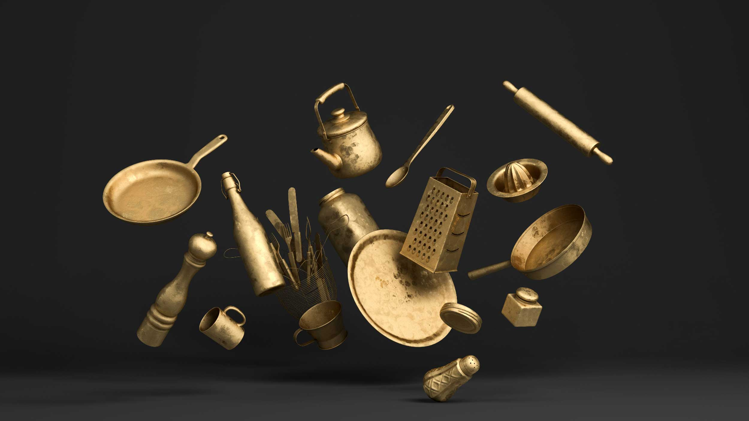 cgi-product-gold-pots-pans-salt-pepper-shakers-kitchen-items-Nico Castro