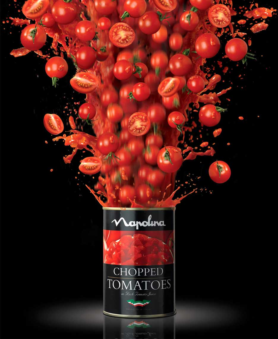 cgi realistic tomatoes exploding out of open tin can