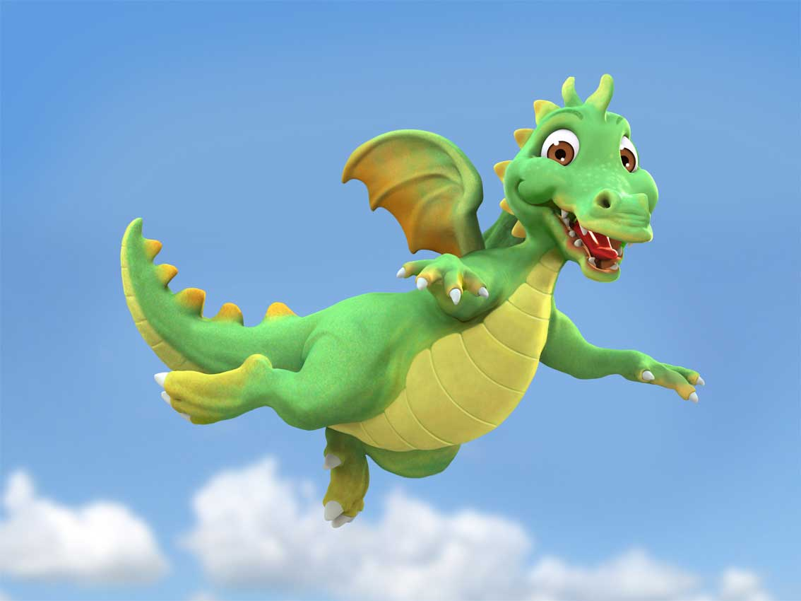 cgi-rendered-character-animated claymation flying dragon character