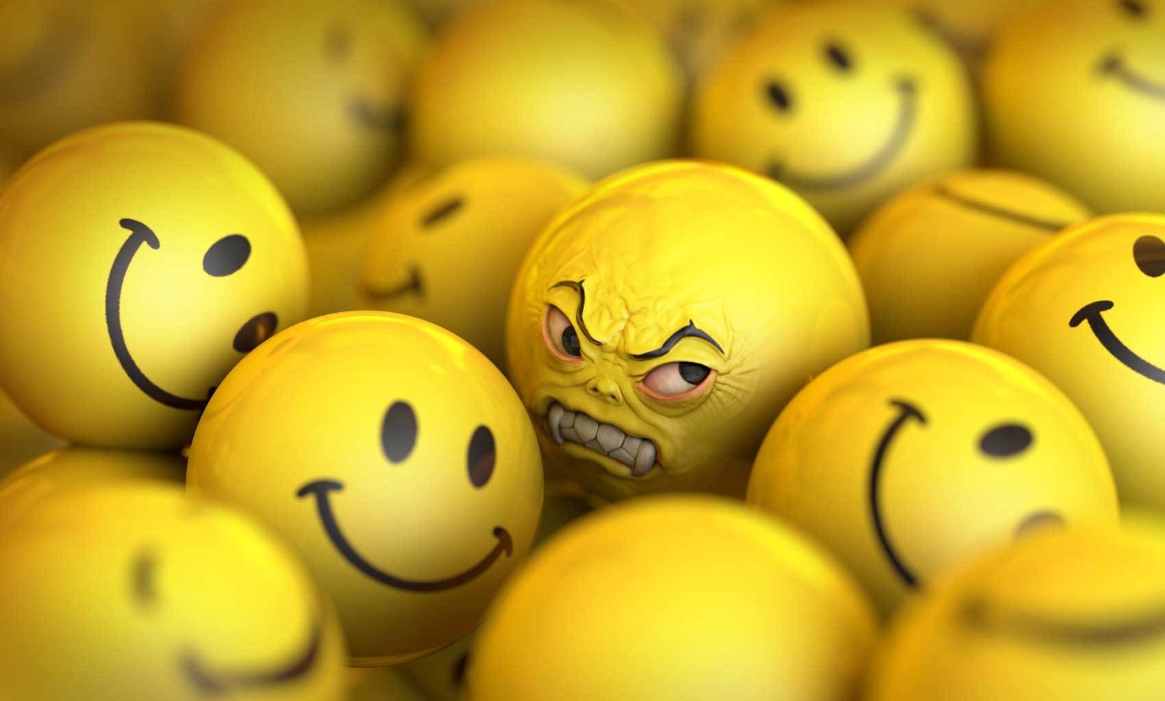cgi-rendered-character-animated happy face balls with one mean ball