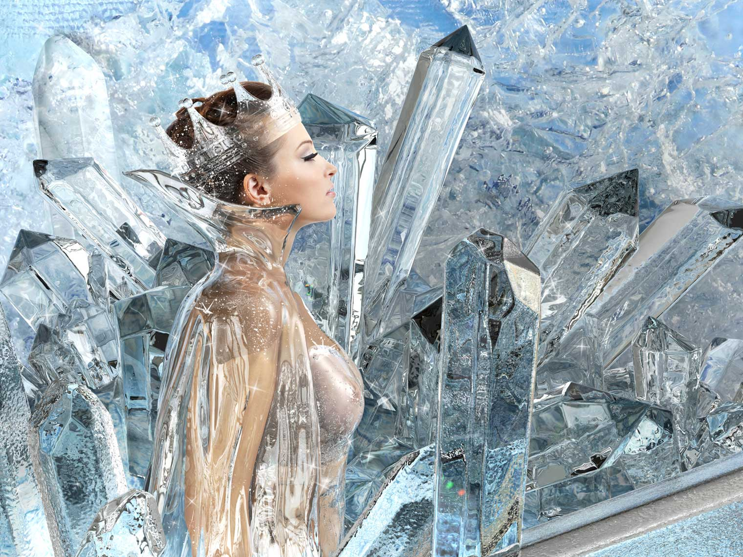 cgi-rendered-people-beautiful ice queen in ice gown and ice landscape