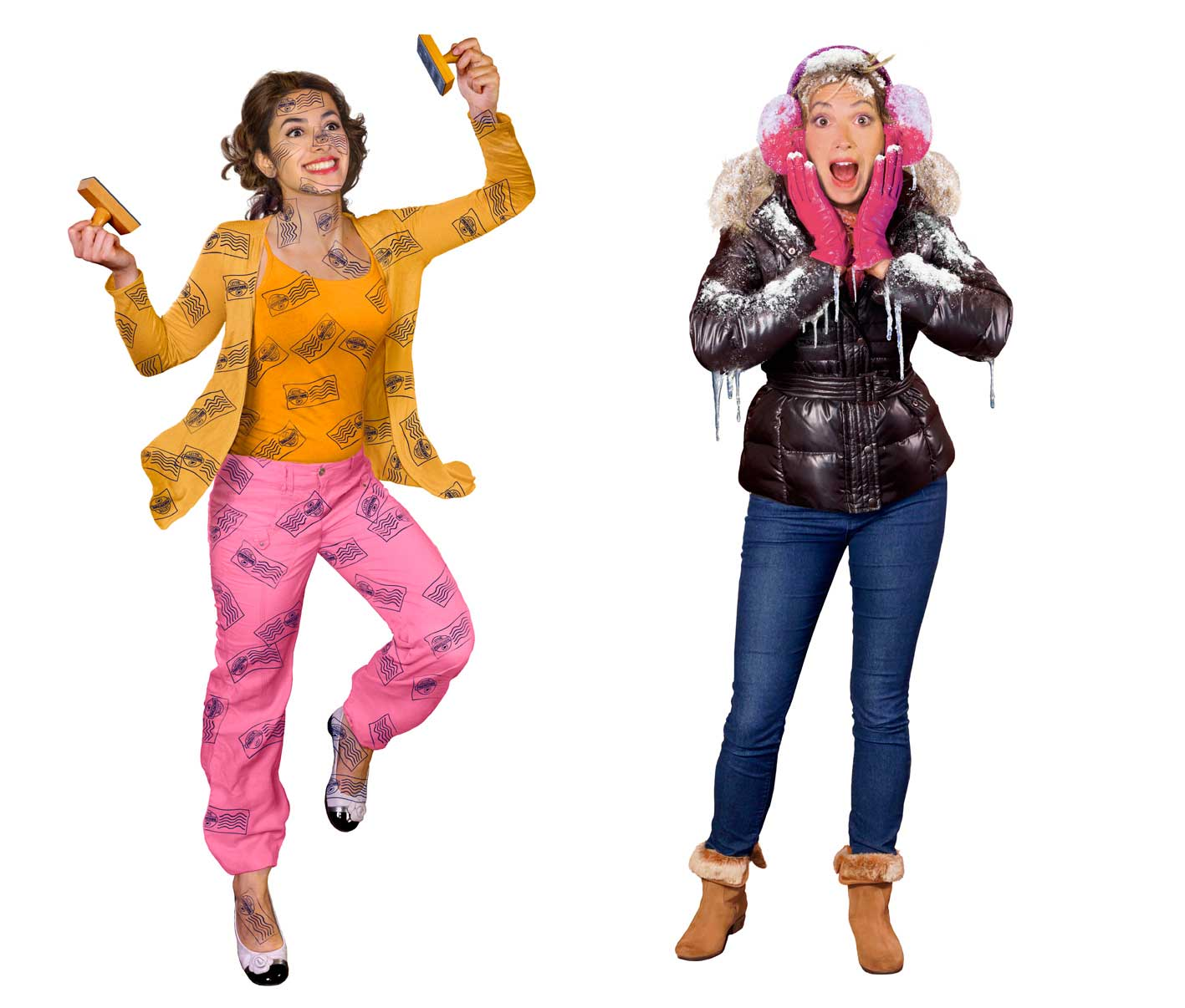 cgi-rendered-people-woman covered with ink stamps and surprised woman in winter gear covered with frost