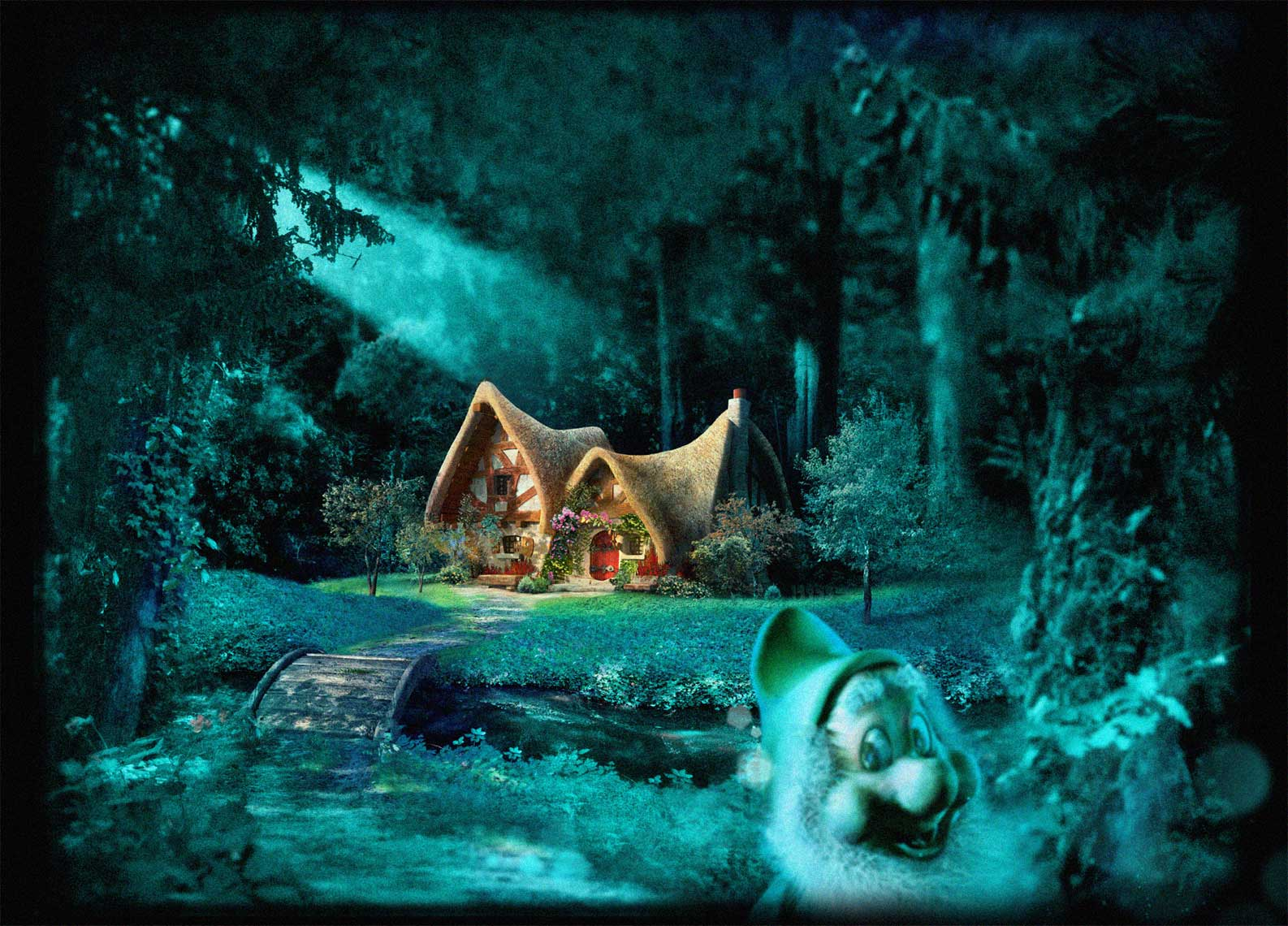 cgi-rendered-scenes-seven dwarfs cottage in woods