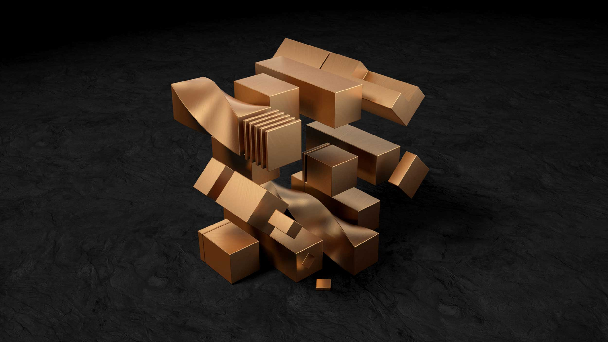cgi-textured-shapes-Bronze-rectangle-twisted-sculptures-Nico Castro