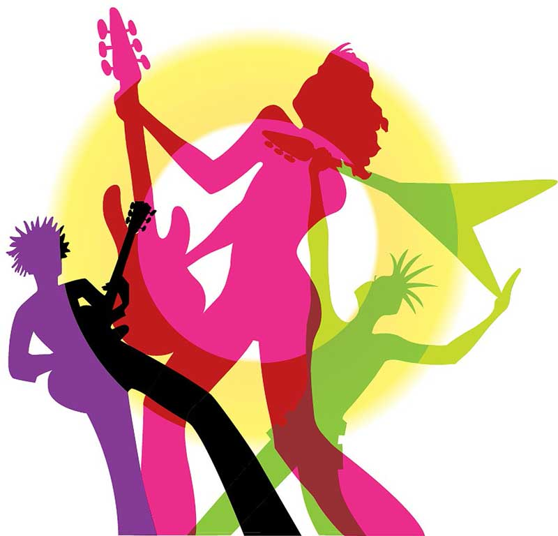 color silhouettes of rock guitarists