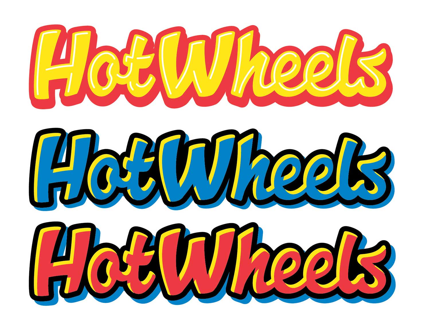 colored script type with highlights-hot wheels logo development