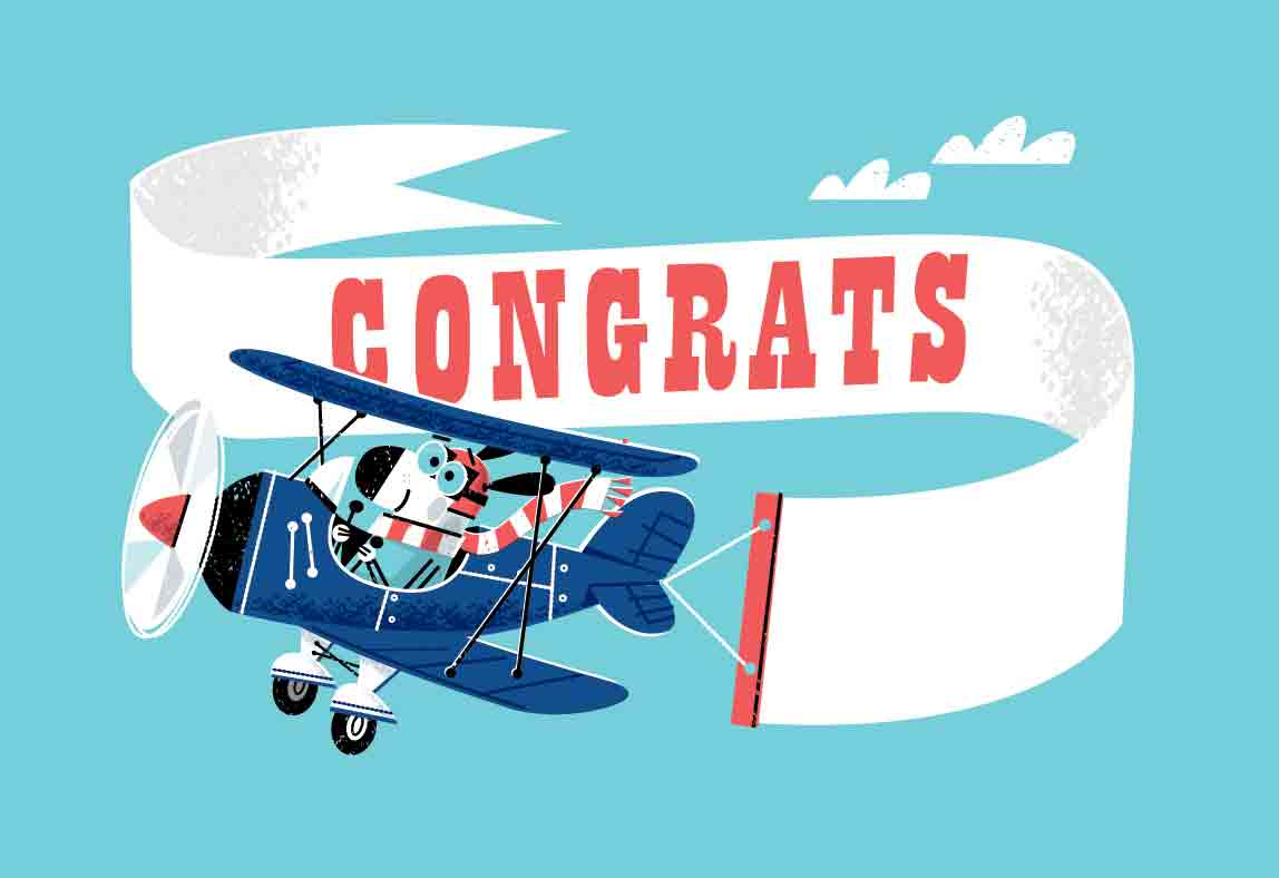 dog flying byplane for congrats gift card art Lowes Home Improvement