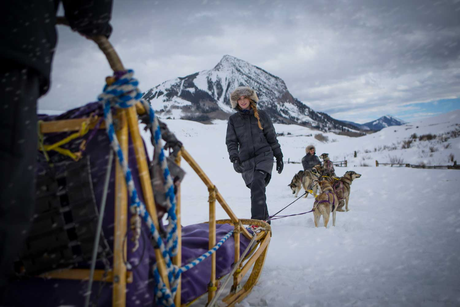 dog-sled-female_driver_in-parka_with_team_