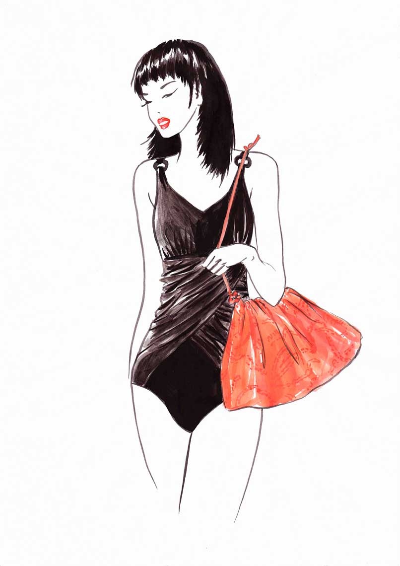 female-illustration-beauty-style-Fashion-Black-Swimsuit-Red-Bag-annie-france-giroud