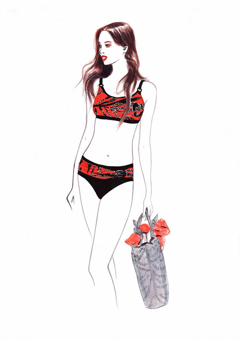illustration-beauty-style-Fashion-Black-and-Red-Bikini