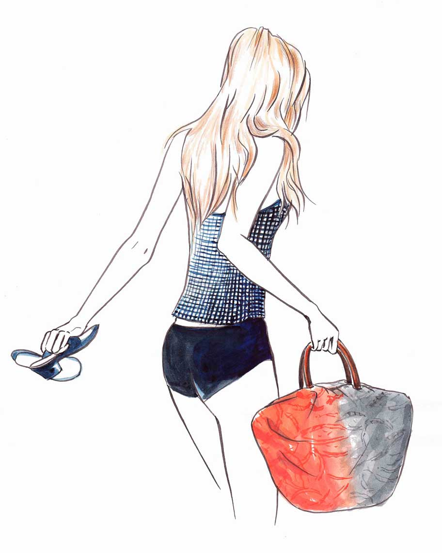 female-illustration-beauty-style-Fashion-Blonde-with-Sandals-and-Bag-annie-france-giroud