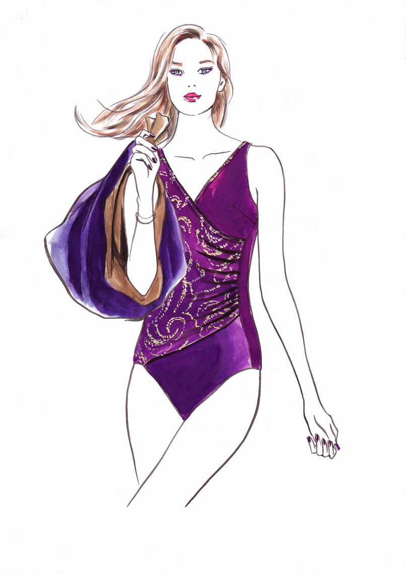 female-illustration-beauty-style-Fashion-Purple-Swimsuit-annie-france-giroud