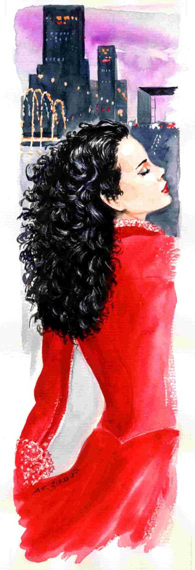 female-illustration-beauty-style-Fashion-Red-Longsleeved-Dress-annie-france-giroud