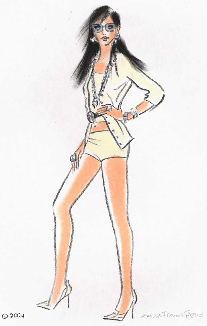 female-illustration-beauty-style-Fashion-Tan-Jacket-and-Shorts-annie-france-giroud