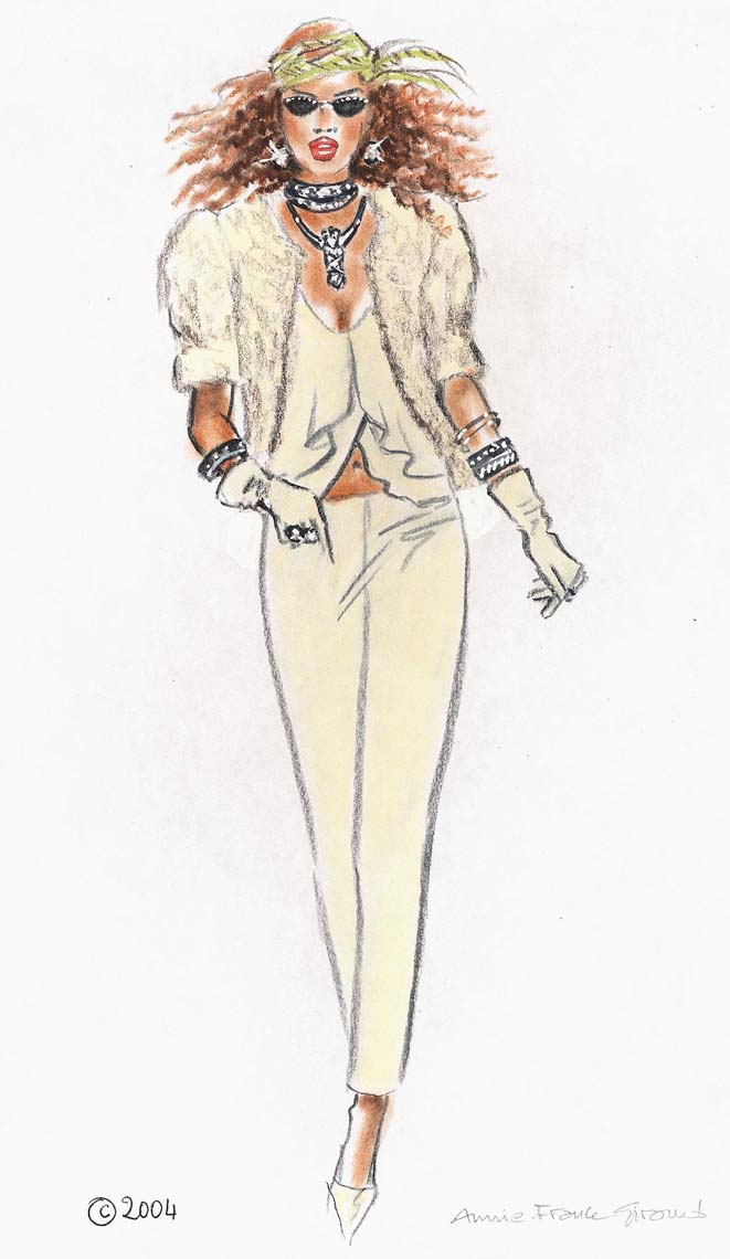 female-illustration-beauty-style-Fashion-Tan-Pantsuit-annie-france-giroud