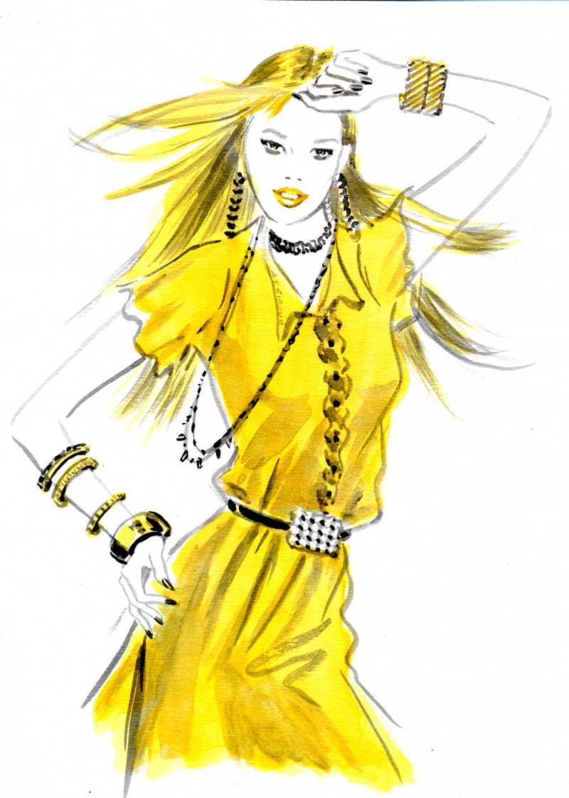 illustration-beauty-style-Fashion-Yellow-Shortsleeved-Dress