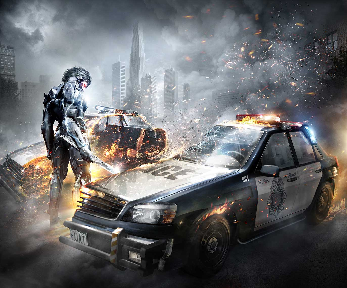 game-imagery-Metal Gear-sawing-police-car-in-half-destroyed-apocalyptic-background