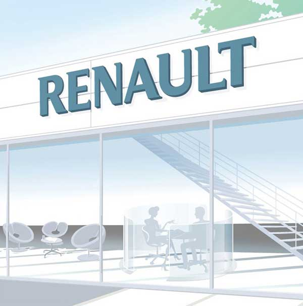 glass front andn interior of renault car dealership