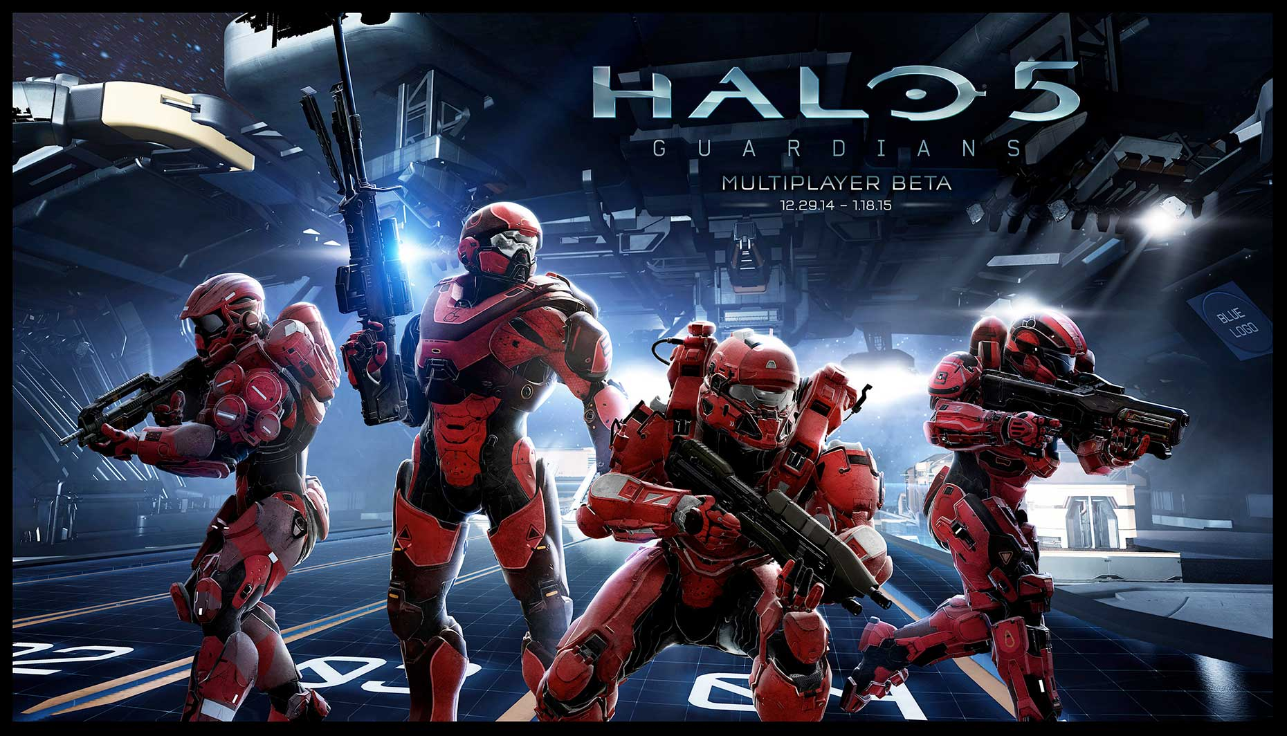 halo 5 guardians key art red characters in action