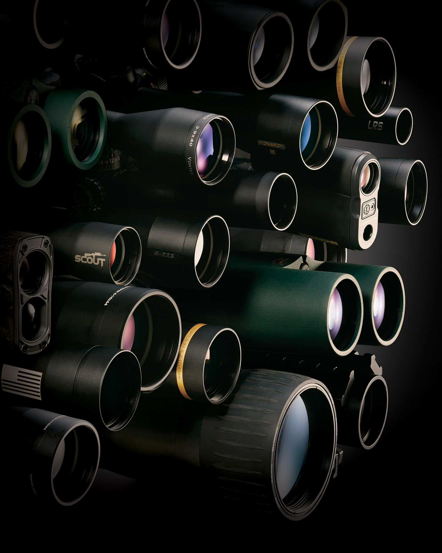 hunting scope stacked still life