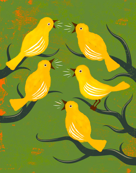 illustration-Animals-Animals_Chirping birds-Don Bishop