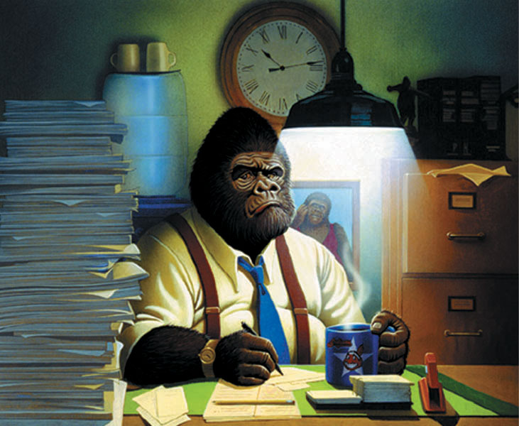 illustration-Animals_Office gorilla-Keith Batcheller