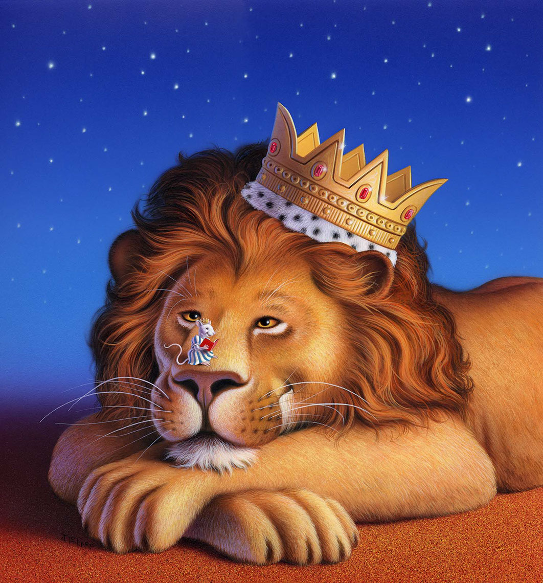 illustration-Animals_Sleepy lion king-Jerry LoFaro