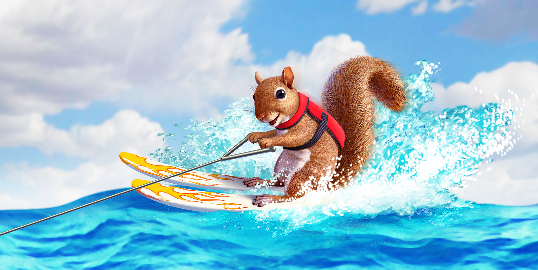 illustration-Animals_Waterskiing squirrel-Jerry LoFaro