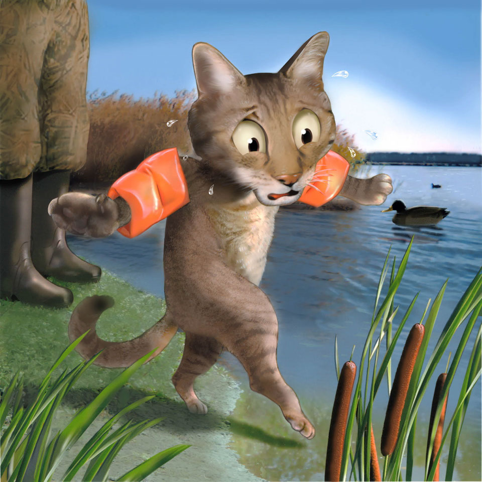 illustration-Animals and Nature_Cat afraid of water-Impressa
