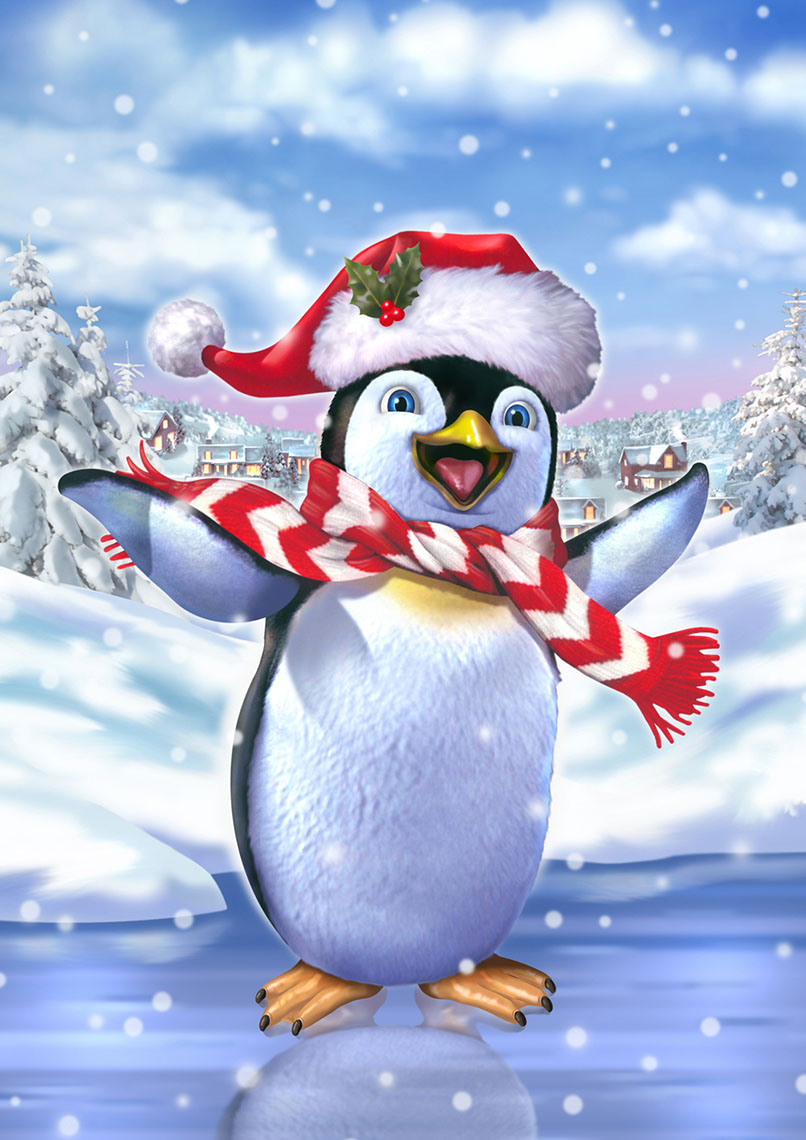 illustration-Animals and Nature_Christmas penguin-Impressa