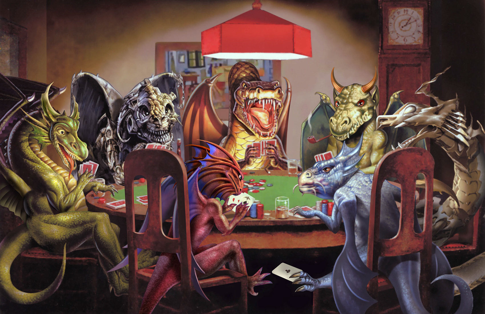 illustration-Animals and Nature_Dragons playing poker-Impressa