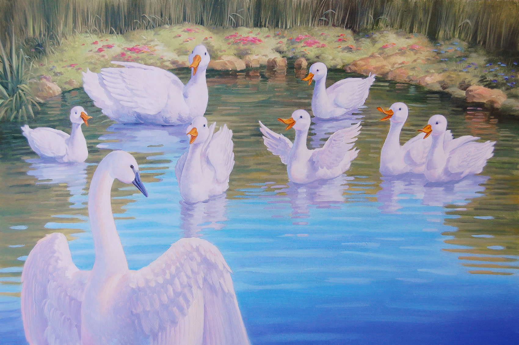 illustration-Animals and Nature_Ducks in the pond-Mike Jaroszko